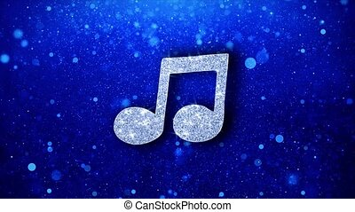 Music Song Chord Icon White Blinking Glitter Glowing Shine on Blue Particles. Shape, Web, Text , Design, Element, Symbol 4K Loop Animation.
