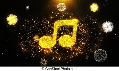 Music Song Chord Icon on Firework Display Explosion Particles. Object, Shape, Text, Design, Element, Symbol 4K Animation.
