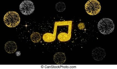 Music Song Chord Icon on Glitter Golden Particles Firework....