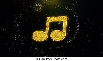 Music Song Chord Icon on Gold Glitter Particles Spark Exploding Fireworks Display . Object, Shape, Text, Design, Element, Symbol 4K Animation.