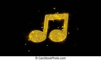 Music Song Chord Icon Sparks Glitter Particles on Black Background. Shape, Design, Text, Element, Symbol Alpha Channel 4K Loop.