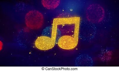 Music Song Chord Icon Symbol on Colorful Fireworks Particles. Object, Shape, Design, Text, Element, 4K Loop Animation.