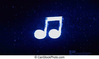 Music Song Chord Symbol Digital Pixel Noise Error Animation....
