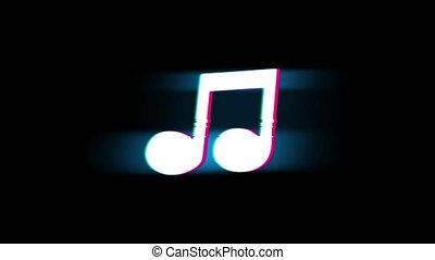 Music Song Chord Symbol on Glitch Retro Vintage Animation. -...