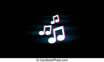 Music Song Chords Symbol on Glitch Retro Vintage Animation....