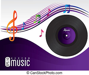 music song over purple background vector illustration
