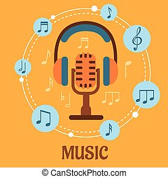 Music, sound and entertainment concept with microphone and...