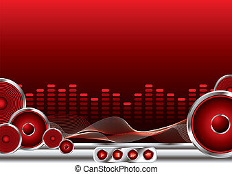 music sound - abstract music background in red and black...
