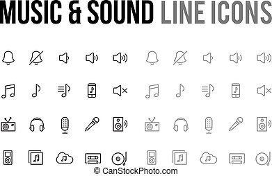 Music & sound vector line icon for app, mobile website responsive
