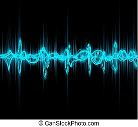 music sound waves - Blue colored music sound waves for...