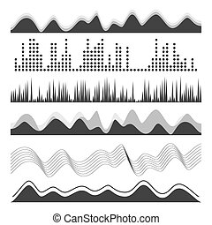 Music Sound Waves Pulse Abstract Vector. Digital Frequency Track Equalizer Illustration