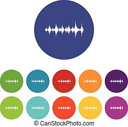 Music sound waves set icons