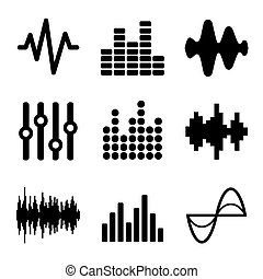 Music Soundwave Icons Set on White Background. Vector