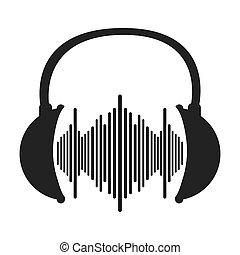 music soundwave in headphones icon