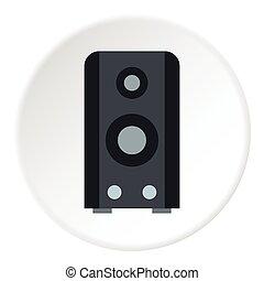 Music speaker icon, flat style