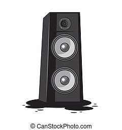 Music speaker on an isolated white background. Vector image