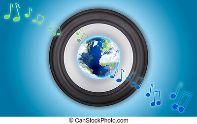 Music speaker with a globe in the center. Symbol of global...