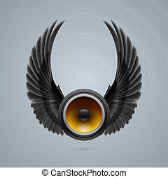 Music speaker with two wings