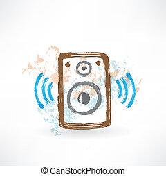 music speakers grunge icon.