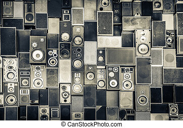 Music speakers on the wall in monochrome vintage style -...