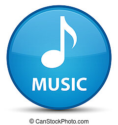 Music special cyan blue round button