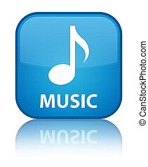Music special cyan blue square button