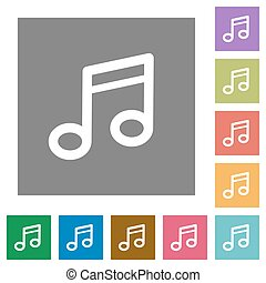 Music square flat icons
