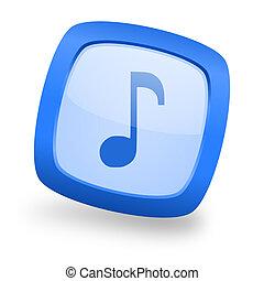 music square glossy blue web design icon