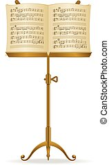 Music Stand - Golden stand with music sheet vector...