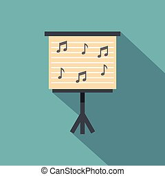 Music stand with piano notes icon, flat style