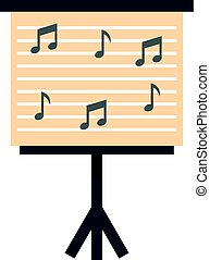 Music stand with piano notes icon isolated