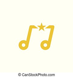 Music star gold. Vector logo template