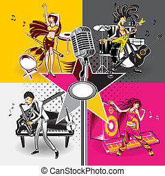 Music Star Idols Singing And Performance Rock, Jazz, Hip Hop...