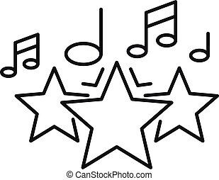 Music star singer icon, outline style