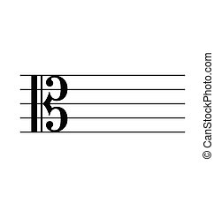 Classic C alto music stave staff notation blank symbol vector isolated on white background