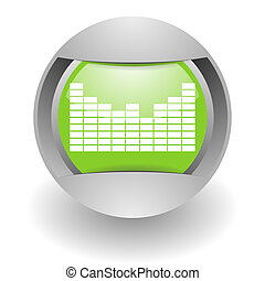 music steel green glosssy icon