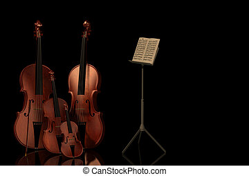 music - A concert with a violin, bass and cello