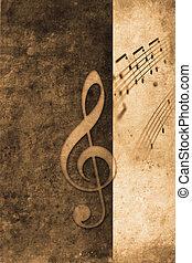 Music - old music notes in retro design look