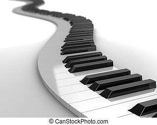 Music - 3d modern piano curves, music concept