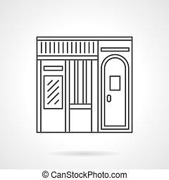 Music store facade flat line vector icon