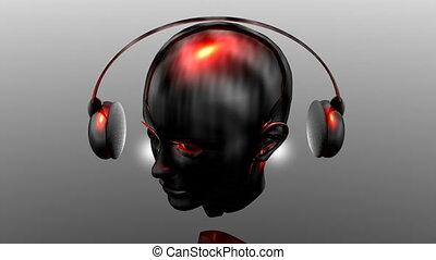 Music strange girl with headphone