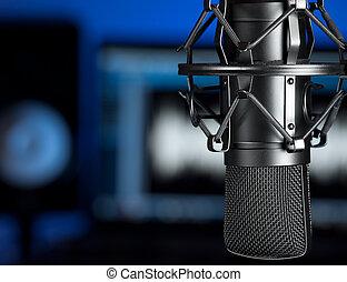 Music studio - Microphone in the music recording studio ,...