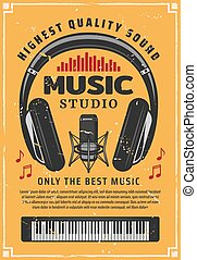 Music studio recording, microphone and note