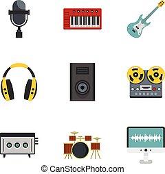 Music stuff icon set, flat style