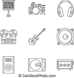 Music stuff icon set, outline style