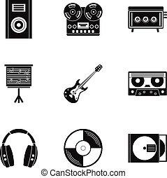 Music stuff icon set, simple style