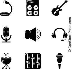 Music stuff icons set, simple style