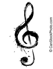 Music symbol - Symbol of violin key created in grunge style