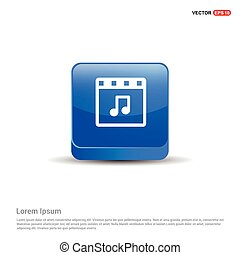Music Symbol icon - 3d Blue Button