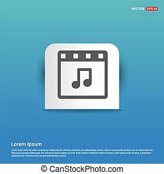 Music Symbol icon - Blue Sticker button